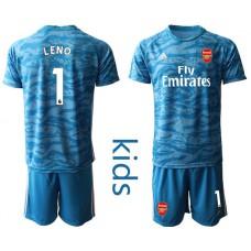 Youth Arsenal 2019/20 #1 LENO Blue Goalkeeper Soccer Jersey
