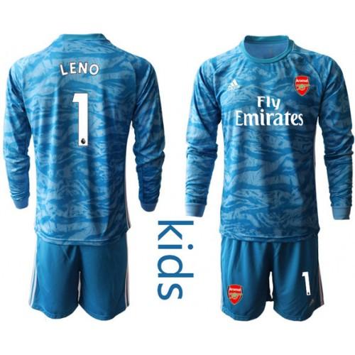 Youth Arsenal 2019/20 #1 LENO Blue Long Sleeve Goalkeeper Soccer Jersey
