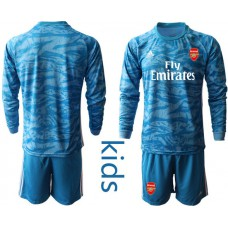 Youth Arsenal 2019/20 Blue Long Sleeve Goalkeeper Soccer Jersey