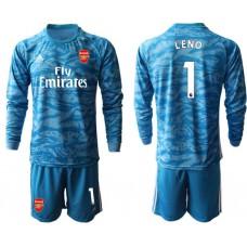 Arsenal 2019/20 #1 LENO Blue Long Sleeve Goalkeeper Soccer Jersey
