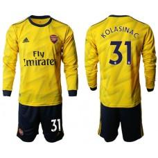Arsenal 2019/20 #31 Away Long Sleeve Yellow Soccer Jersey