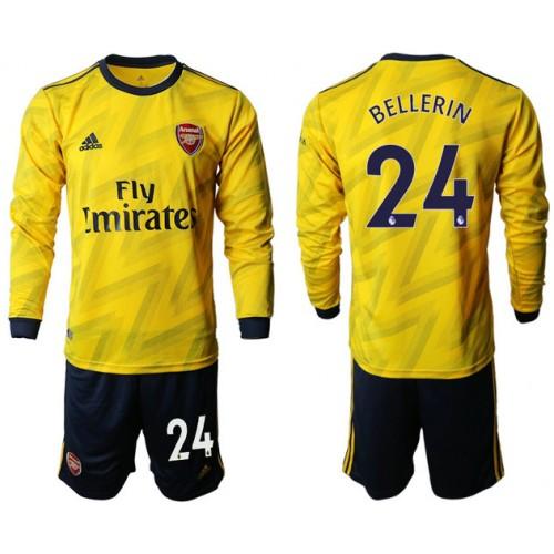 Arsenal 2019/20 #24 Away Long Sleeve Yellow Soccer Jersey