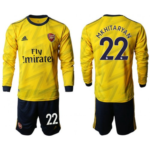 Arsenal 2019/20 #22 Away Long Sleeve Yellow Soccer Jersey