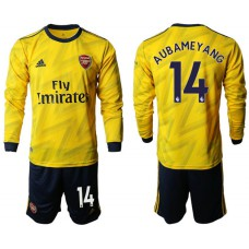 Arsenal 2019/20 #14 Away Long Sleeve Yellow Soccer Jersey