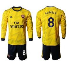 Arsenal 2019/20 #8 Away Long Sleeve Yellow Soccer Jersey