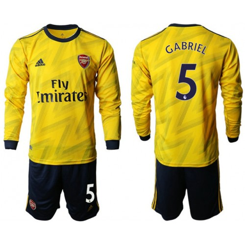 Arsenal 2019/20 #5 Away Long Sleeve Yellow Soccer Jersey