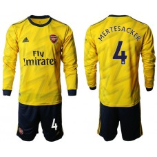Arsenal 2019/20 #4 Away Long Sleeve Yellow Soccer Jersey