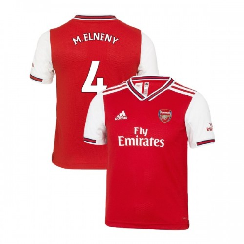 YOUTH Arsenal 2019/20 Home #4 Mohamed Elneny Red Replica Jersey