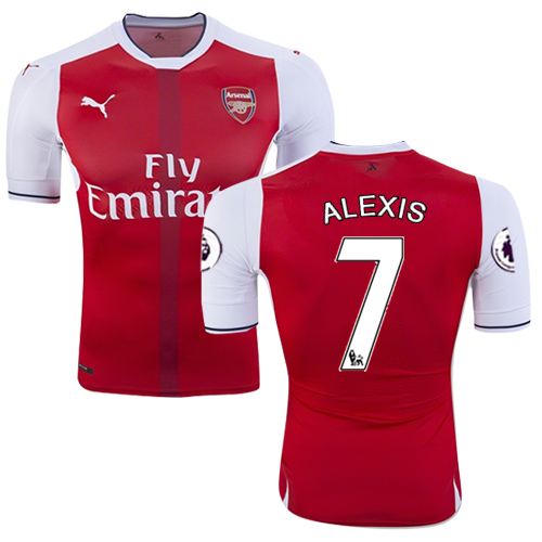 uk availability e8db0 aff81 16/17 Arsenal #7 Alexis Sanchez Red Home Replica Jersey