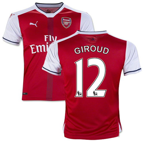 best website e15f8 f873c Kid's 16/17 Arsenal #12 Olivier Giroud Red Home Replica Jersey