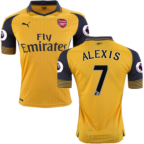 big sale 8ff56 5bd90 16/17 Arsenal #7 Alexis Sanchez Yellow Away Replica Jersey