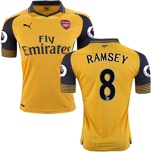 separation shoes e3e9e d9bfc 16/17 Arsenal #8 Aaron Ramsey Yellow Away Authentic Jersey