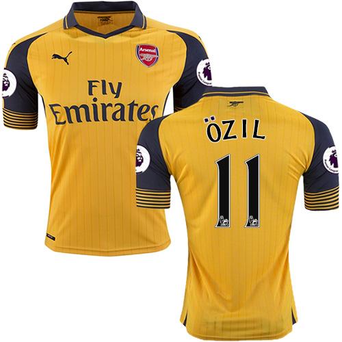 buy online b9bdd 9e5de Women's 16/17 Arsenal #11 Mesut Ozil Yellow Away Replica Jersey
