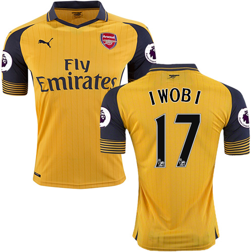 Kid's 16/17 Arsenal #17 Alex Iwobi Yellow Away Authentic Jersey